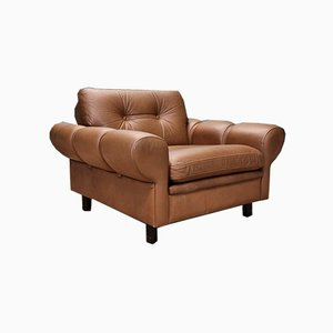 Mid-Century Danish Light Brown Leather Lounge Chair, 1960s