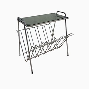 Mid-Century Chrome & Smoked Glass Magazine Rack or Side Table, 1970s