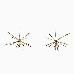 Italian Brass Sputnik Chandeliers, 1950s, Set of 2