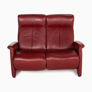 Red Leather 2-Seater Sofa from Marquand