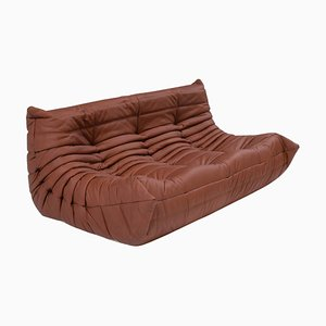 Large Brown Leather 3-Seater Sofa by Michel Ducaroy for Ligne Roset