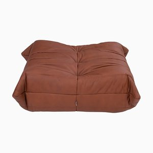 Togo Brown Leather Footstool by Michel Ducaroy for Ligne Roset