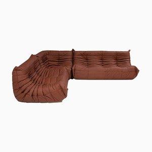 Togo Brown Leather Modular Sofa by Michel Ducaroy for Ligne Roset