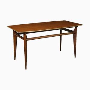 Beech, Mahogany Veneer & Brass Table, Italy, 1960s