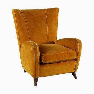 Armchair in Wood & Velvet, Italy, 1950s