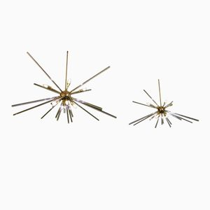Italian Glass & Brass Sputnik Chandeliers, 1950s, Set of 2
