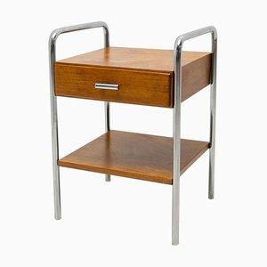 Bauhaus Chromed Side or Bedside Table by Robert Slezak, 1930s, Czechoslovakia