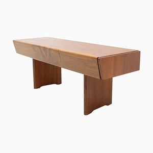 Walnut Side Table, 1970s, Czechoslovakia