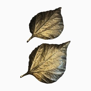 Brass Rhubarb Leaves Wall Lights by Tommaso Barbi, 1970s, Set of 2