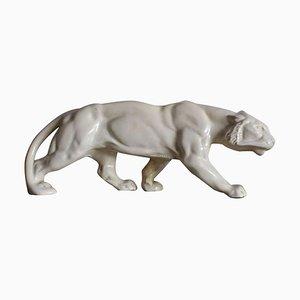 Art Deco Cream Crackled Ceramic Panther Sculpture