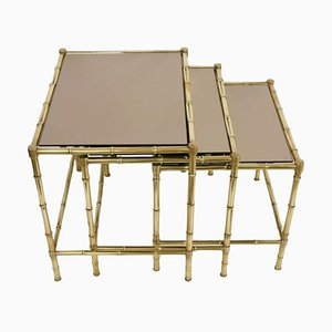 Maison Baguès Style Brass Faux Bamboo Leg Small Table Set, Set of 3