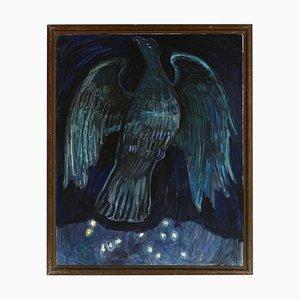 Olivia Holm Møller, Blue Bird, Oil Painting, 1962