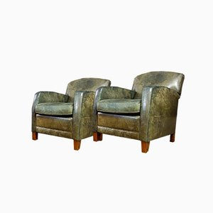 Vintage Green Leather Armchair