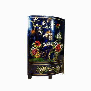 Vintage Chinese Style Hand-Painted Corner Cabinet