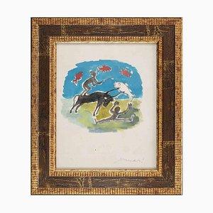 Mino Maccari, Zodiac Signs, Original Watercolor on Paper, 1975