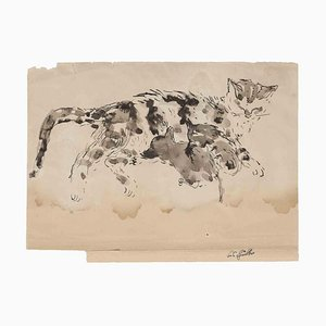 Carl Kubler, The Cat, Original Watercolor on Paper, Mid-20th-Century