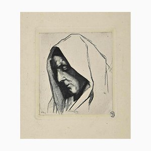 Auguste Danse, Portrait, Original Etching, 19th-Century