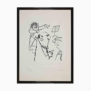 Mino Maccari, At the Concert, Original Etching and Drypoint, 1970s