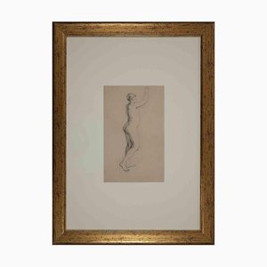 Unknown, Study of Woman, Original Pencil Drawing on Paper, Early 20th-Century