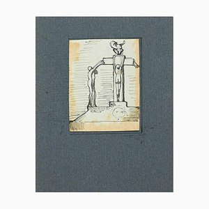 Unknown, Christ Crucifixion, Original Pen and Pencil Drawing, Early 20th-Century