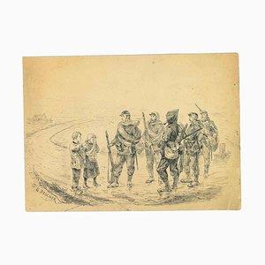 Georges Dascher, Soldiers, Original Pen Drawing, 1890s