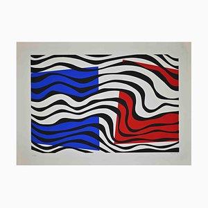 Uberto Maria Casotti, Blue and Red Composition, Original Screenprint, 1971