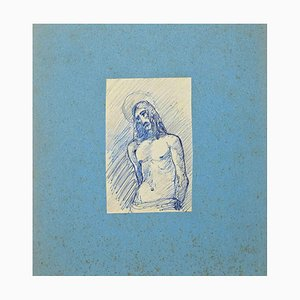 Unknown, Christ, Original Pen and Pencil Drawing, Early 20th-Century
