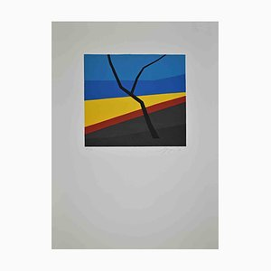 Amintore Fanfani, Branch in the Abstract Landscape, Original Lithograph, 1972