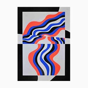 Uberto Maria Casotti, Colored Waves, Original Screenprint, 1971