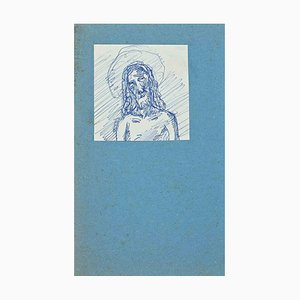 Unknown, Christ, Original Pen Drawing, Early 20th-Century
