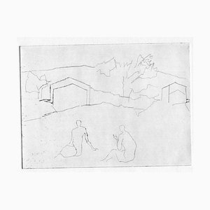 Unknown, Figures in Landscape, Original Etching and Drypoint, Mid-20th-Century