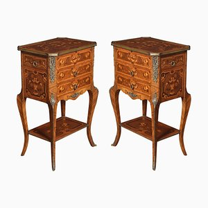 Marquetry Inlaid and Gilt Metal Mounted Bedside Chests, Set of 2