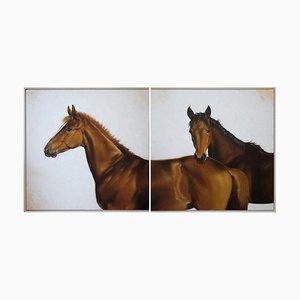 Luisa Albert, Foals Horses, Thoroughbreds, Oil on Canvas, 2021