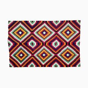Vintage Romanian Kilim Multicolored Geometric Background