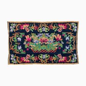 Vintage Wool Rug with Floral Design