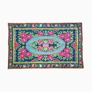 Floral Handwoven Green and Fuchsia Wool Rug