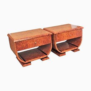 Art Deco Style Italian Walnut Burl and Brass Nightstands, Set of 2