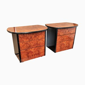 Italian Art Deco Style Walnut Burl and Lacquered Black Nightstands, Set of 2