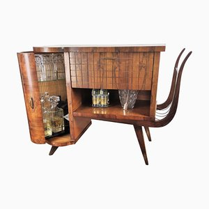 Italian Mid-Century Regency Italian Walnut and Burl Bar Cabinet