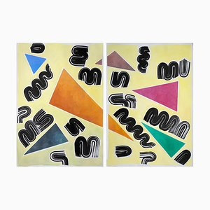 Primary Colors and Shapes on Light Yellow, Abstract Geometric Painting, Triangle, 2021