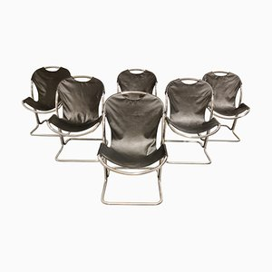 Vintage Chrome Dining Chairs by Gastone Rinaldi, 1970s, Set of 6
