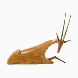 Mid-Century Austrian Walnut and Brass Antelope Sculpture by Hagenauer Vienna