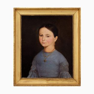 19th-Century French School, Portrait of a Girl with a Bird Pendant