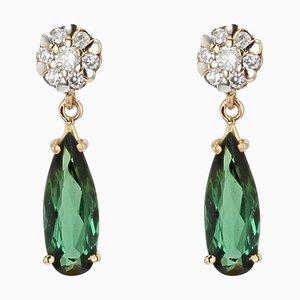 2,0 Carat Tourmaline Diamond 18 Karat Yellow Gold Drop Earrings, Set of 2