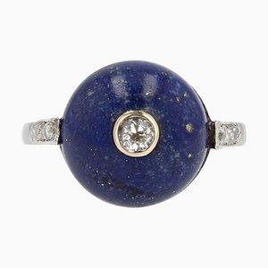 Art Deco Lapis Lazuli Diamonds 18 Karat White Gold Ring, 1930s