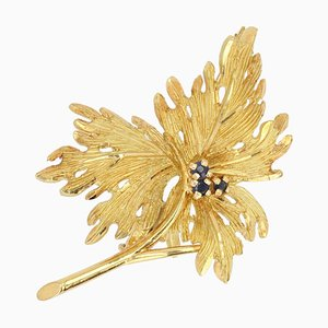 French Sapphire 18 Karat Yellow Gold Leaf Brooch, 1960s
