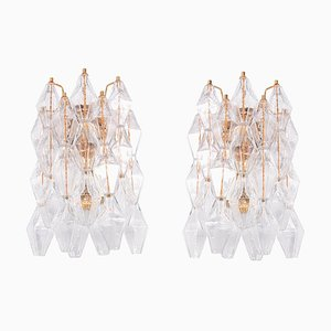Poliedri Wall Sconces in Murano Glass & Gold Plated Brass by Carlo Scarpa, Set of 2