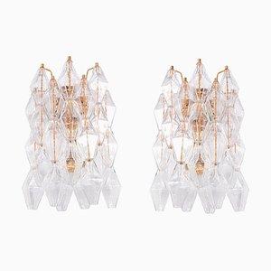 Poliedri Wandleuchten aus Murano Glas & vergoldetem Messing von Carlo Scarpa, 2er Set