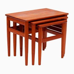Danish Teak Solid Wood Nesting Tables, Set of 3