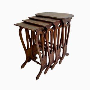 French Walnut Nesting Tables 1920s, Set of 4